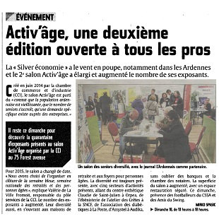 Salon Activ'âge 2015 Article L'Ardennais du 18/10